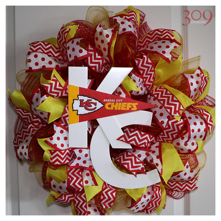 Kansas City Wreath Football Fan Decor