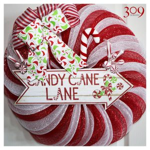 Candy Cane Christmas Wreath